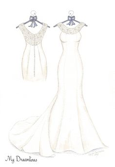 Dreamlines Wedding Dress Sketch give as an anniversary gift, wedding gift…
