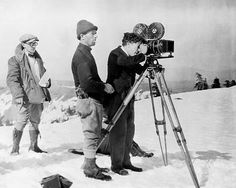 """The Gold Rush"" Behind the scenes Charlie Chaplin, Rollie Totheroh Cameraman, Ed Manson. 1925 UA"