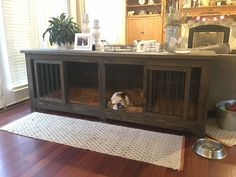Dog Crate Furniture - Confused About Your Canine? Read This For Clarity - Dogs Stuff Dog Crate Table, Diy Dog Crate, Dog Crate Furniture, Dog Cave, Airline Pet Carrier, Diy Dog Bed, Dog Rooms, Puppy Care, Dog Boarding