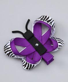 Purple Zebra Butterfly Clip