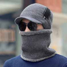 High-quality Men Warm Thick Cotton Beanie Cap With Earmuffs Windproof Hooded Neck Scarves Warmer Cap - NewChic Mobile