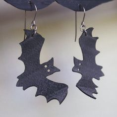 Halloween Bat Earrings  upcycled from bicycle by Gloomstopper