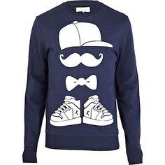 Navy moustache snapback print sweatshirt - sweatshirts - hoodies / sweatshirts - men £28