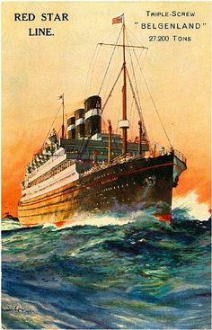 Red Star Line Ocean Liner Travel Poster