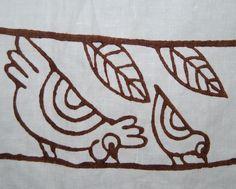 Vittorio Pascucci Italian linen chicken hand stamped folk art by vintageinspiration on Etsy