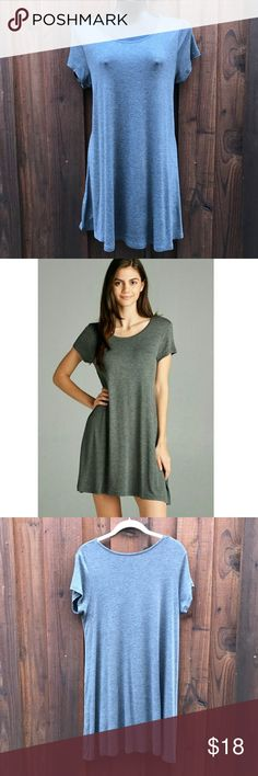 "NWOT gray swing t-shirt dress Medium Re-poshing this brand new gray tee dress! Wonderful drapey fabric but not my size. armpit to armpit: 19"" flat unstretched length: 34"" Dresses"
