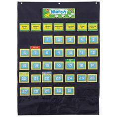Deluxe Calendar Pocket Chart, Black, CD-158574