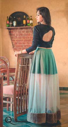 Fusion Look.Crop top and sheer pleated skirt by HUEMN Choli Designs, Lehenga Designs, Saree Blouse Designs, Indian Dresses, Indian Outfits, Indian Skirt, Indian Clothes, Western Dresses, Indian Designer Outfits