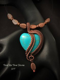 Turquoise Magnesite Copper Wire Weave Heart by Traebetruedesign