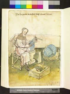 Amb 317.2 ° folio 28 verso 1425 The carders sitting on a chair with woven seat and wooden back and pulls a blue colored wool strand through the permanently mounted comb. On the floor is a heat box, on the ridge with an iron hand is rich. Right in a large basket is blue colored wool.
