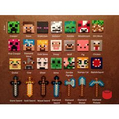 Minecraft Keychains, Magnets and Pins from Perler Beads - Polyvore