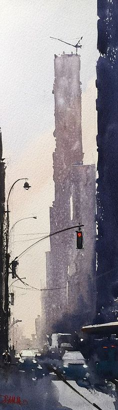 57th Street. Watercolor | Daniel Marshall #watercolorarts