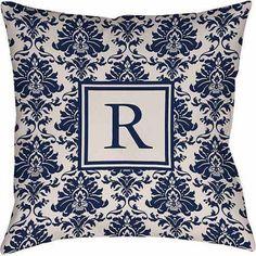 Thumbprintz Damask Monogram Decorative Pillow, Blue