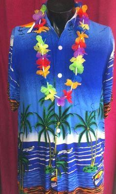 Hawaiiblouse blauw met palmbomen
