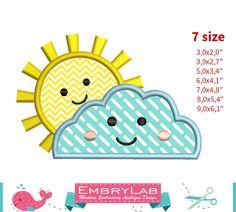 Applique Design Mini Spring Sun With Cloud 16150 by EmbryLab