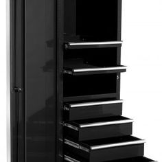 black storage cabinet with drawers