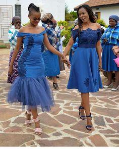 Traditional African Shweshwe Dresses Styles For Women. Shweshwe attires are a cotton indigo Fab South African Dresses, African Bridesmaid Dresses, African Wedding Dress, African Attire, African Fashion Dresses, African Wear, African Clothes, Fashion Outfits, African Traditional Wedding Dress