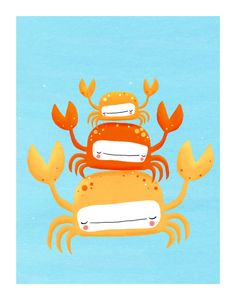 crabs nursery art. quirky orange sea creatures on blue. LARGE 11 x 14 art print (MORE COLORS available). $30.00, via Etsy.