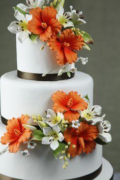 Orange Hibiscus Wedding Cake – Wedding Cakes With Cupcakes Elegant Wedding Cakes, Beautiful Wedding Cakes, Wedding Cake Designs, Beautiful Cakes, Elegant Cakes, Fondant Wedding Cakes, Wedding Cakes With Cupcakes, Fondant Cakes, Cupcake Cakes