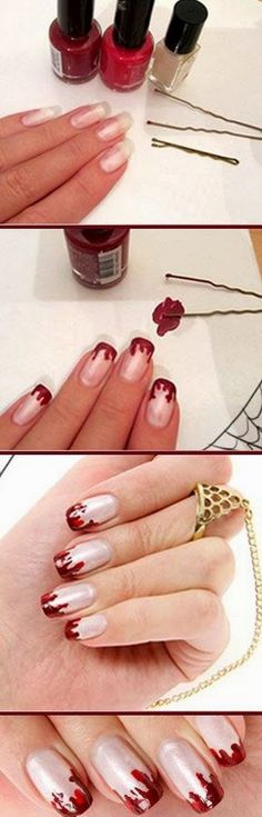 Easy Bloody French Nail Design.