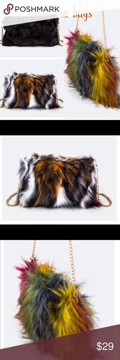 🆕 Sassy Fur bags Cute medium size fur purse. Has nice gold chain. Comes in three colors Black Black, Tan, Off White Colorful  Get your now ladies! Bags Crossbody Bags