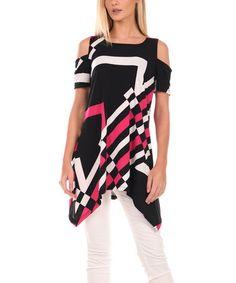 Love this Black & Pink Shoulder Cutout Tunic on #zulily! #zulilyfinds