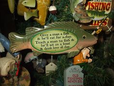 NEAT FISHING FISH ORNAMENT WITH SAYING FISH MAN BEER CHRISTMAS TREE ORNAMENT Another neat item just listed on eBay by pjgal2000, Pam Jones of Barn Raising Antiques!