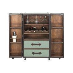 Steamer Trunk Bar Cabinet in Sage | dotandbo.com