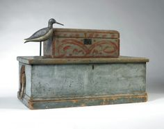 A small New England blue painted pine sea chest mid 19th c. Sold: $590 ($500)