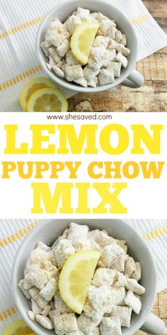 If you love lemon then you are going to love this delicious Lemon Puppy Chow Recipe. Lemon Puppy Chow, Puppy Chow Mix, Puppy Chow Recipes, Snack Mix Recipes, Breakfast Recipes, Puppy Chow Crispix Recipe, Recipe Puppy, Recipe 30, Muddy Buddies Recipe