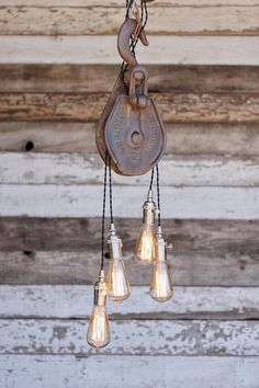 The Columbia Chandelier  Metal Barn Pulley pendant Light