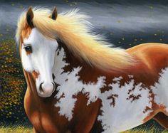 Paint pinto horse autumn storm limited edition aceo print art by Bridget Voth