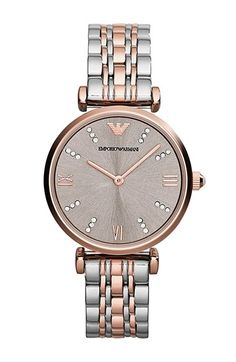 Emporio Armani Crystal Marker Two-Tone Bracelet Watch, 31mm Silver/ Rose Gold One Size