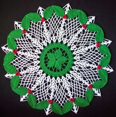 Hand Crocheted Holly Doily by PetalsnMore on Etsy