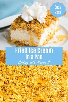 It's easy to make Fried Ice Cream in a Pan! You'll love this version with t… It's easy to make Fried Ice Cream in a Pan! You'll love this version with toasted corn flakes, butter, cinnamon, brown sugar and honey. Such a fun dessert! Ice Cream Desserts, Köstliche Desserts, Frozen Desserts, Ice Cream Recipes, Frozen Treats, Fried Ice Cream Pie Recipe, Fried Icecream Recipe, Ice Cream Pies, Dessert Simple