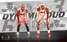 Miami Heat Dynamic Duo Basketball and Streetball Wallpaper of LeBron James and Dwyane Wade