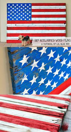Diy wall art - how to make a reclaimed wood american flag Pallet Flag, Wood Flag, Pallet Art, Diy Pallet, Do It Yourself Projects, Diy Projects To Try, Craft Projects, Pallet Projects, Craft Ideas