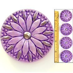 Shimmering 32mm Vintage Czech Glass Purple Lilac Mirror Back Flower Buttons 4pc | eBay