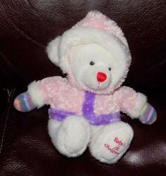 "7"" Russ Babys First Christmas RATTLE BEAR w/ Pink & Purple Coat STRIPED 15 #Russ"