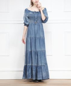 Blue Scoop Neck Denim Peasant Maxi Dress