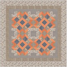 "Quilt Pattern - Autumn Tresses - 60"" x 60"" - Throw - Made w Moda, Autumn Woods Fabric - Written so that a beginner can make this quilt"