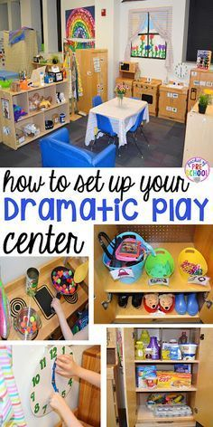 to Set up the Dramatic Play Center in an Early Childhood Classroom How to set up your dramatic play center in your preschool, pre-k, and kindergarten classroom.How to set up your dramatic play center in your preschool, pre-k, and kindergarten classroom. Preschool Rooms, Preschool Centers, Preschool Set Up, Preschool Kitchen Center, Preschool Room Layout, Toddler Daycare Rooms, Creative Curriculum Preschool, Kindergarten Classroom Setup, Preschool Library Center