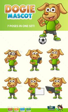 Dog Mascot Vector illustrations with 7 different poses in one set  Need More Cartoon Mascots? Donwload here:!  Need More Cartoon M