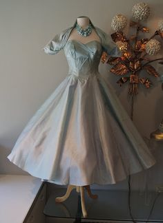 Ice blue 1950's party dress.