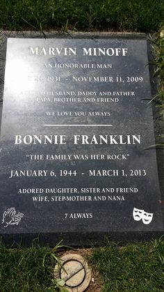 "Grave Marker- Bonnie Franklin - Actress. She will be best remembered for playing Ann Romano Royer in the TV series ""One Day at a Time"" (1975 to 1984)."