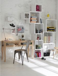 (With my name on it) Nice dot work design Home office design Boxed shelves - try this with IKEA's PRÄNT boxes! Room Inspiration, Interior Inspiration, Workspace Inspiration, Design Inspiration, Etagere Cube, Box Shelves, Desk Shelves, Open Shelves, Deco Design