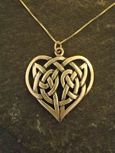 Gold Celtic Heart Love Knot Pendant and Necklace