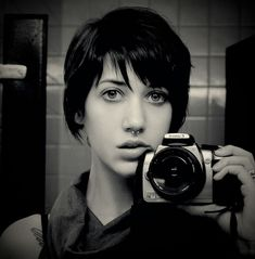 cameras, eyes, haircut, lauren peralta, photograph, septum