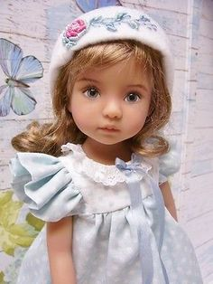 """Effner 13"""" Little Darling Pretty Polka Dot Dress and Embroidered Hat"""