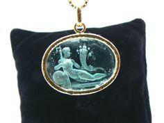 Dea with Cornucopia Venetian intaglio jewelry glass paste techniques, mounted in silver gold plated. Dogale jewellery Venice Italia